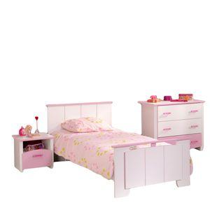 Jugendzimmer Biotiful 3-teilig weiß / rosa Bett Nachtkommode Schubladen-Kommode Kinder- und Jugendbett Nako Nachtschrank Kommode Mädchen Kinderzimmer