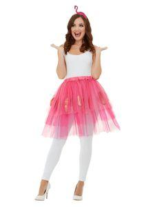 2-teiliges Set für Flamingo Kostüm Tüllrock und Haarreif