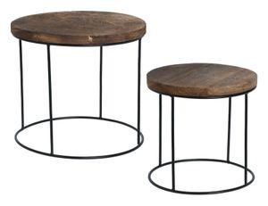 2 kleine Beistelltische Couchtisch Beistelltisch Nachttisch Holz Metall 2er SET