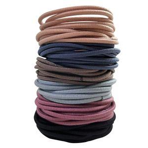 100 Mädchen-Haarbänder, mehrfarbige Haarbänder, metallfreie elastische Haarbänder, Pferdeschwanz-Fixer-Haarschmuck, dünne Haarbänder, 50 x 3 mm