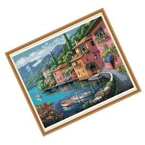 Kreuzstich Stickpackung Stickbilder (Buntes Haus) Stickvorlage vorgedruckt Sticken, Inkl. Anleitung für Kinder & Erwachsene