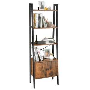 VASAGLE Bücherregal mit Schrank und 4 Ablagen stabiles Eisengestell 56 x 34 x 173 cm Vintage Industrie-Design dunkelbraun LLS47BX