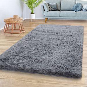 Teppich Wohnzimmer Hochflor Shaggy Weich Modernes Einfarbiges Design In Grau, Größe:120x170 cm