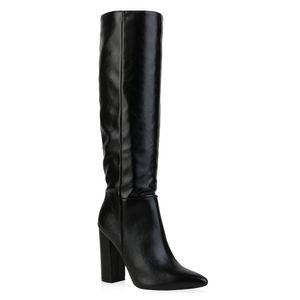 Mytrendshoe Damen High Heels Stiefel Blockabsatz Schuhe 835596, Farbe: Schwarz, Größe: 39
