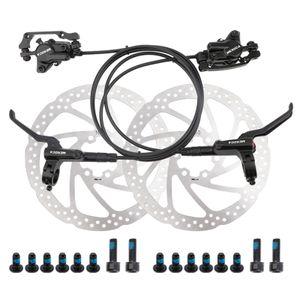 Ölbremse schwarz, ein Paar vorne und hinten + 1 Paar Scheibenbremsbeläge Fahrradölbremse, Hydraulische Scheibenbremse, Bilaterale Bremse, Mountainbike Allgemein