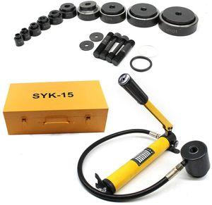 15T Hydraulische Lochstanze Blechlocher Set Hydrauliklochgerät für Hydraulikpresse Werkzeuge Zylinder Hydraulikpumpe 16-101mm