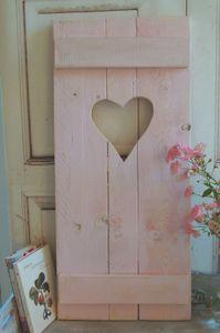 Landhaus Fensterladen ROSA mit Herz,Shabby antique chic Handgefertigt