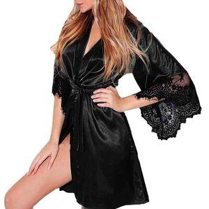 Frauen sexy einfarbige Spitze Patchwork Halbarm Gürtel Nachthemd Bademantel||Schwarz||3XL