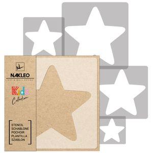 5 Stück wiederverwendbare Kunststoff-Schablonen // STERN #2 // 34x34cm bis 9x9cm // Kinderzimmer-Dekorarion // Kinderzimmer-Vorlage