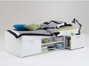 FMD furniture 810-001 Bettanlage mit Stauraum in Ausführung Weiß, Maße ca. 203,5 x 58,5 x 95,9 cm (BxHxT)