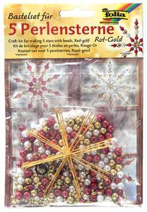 folia Perlensterne-Set 340-teilig rot / gold / perlweiß