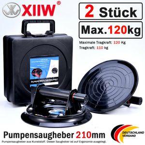 2er Satz Saugheber Glassauger Glasheber Vakuumheber Sauggriff mit Koffer Ø 210mm Tragraft 120KG Scheibenheber Kfz Gummisauger