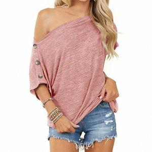 Lässiger Kurzarm-T-Shirt für Damen mit lockerem Pullover,Farbe: Pink,Größe:L