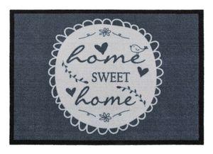 Fußmatte 39 x 58 cm Motiv Home Sweet Home Grau Weiß Schmutzfangmatte Fußabtreter Sauberlaufmatte