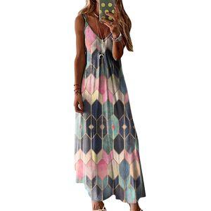 Frauen Geometrisches Muster Sommerkleid V-Ausschnitt Sling Maxikleid, Pink, XL