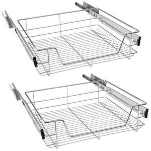 LZQ 2x 60cm Küchenschublade Teleskopschublade Küchenschrank Schrankauszug Schlafzimmerschränke Korbauszug vollauszug