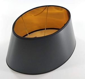 Designer Lampenschirm schwarz - oval konische Form innen Gold