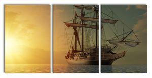 Großes Segelschiff im Sonnenuntergang, XXL Leinwandbild in Übergröße 240x120cm Gesamtmaß 3 teilig / Wandbild / Kunstdruck
