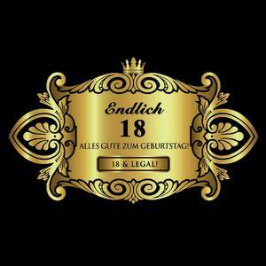Oblique Unique Flaschenetikett Aufkleber Sticker gold Geburtstag - Endlich 18