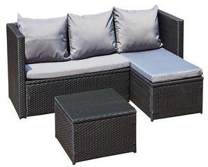 Gartenmöbel Gartenset Lounge Sofa Bergen III  schwarz - grau