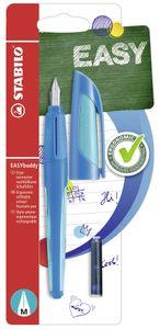 Schulfüller - STABILO EASYbuddy in dunkelblau/hellblau - Schreibfarbe blau (löschbar) - inklusive 2 Patronen - mit Standard-Feder M