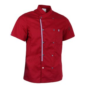 Herren Damen Kochjacke Bäckerjacke Mit Druckknöpfe Kurzarm Arbeitsjacke Farbe rot