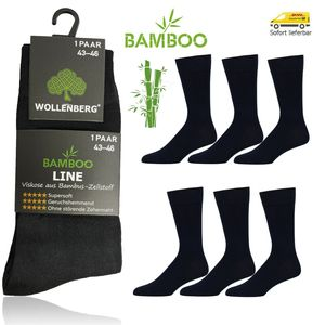 WOLLENBERG® Bambus Viskose Socken Business Freizeit Herren Damen 6 Paar 39-42 Schwarz geruchshemmend
