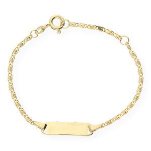 JuwelmaLux Kinder-Identitätsarmband 333er Gold 8 Karat mit Gravurplatte JL18-03-0022 14 cm