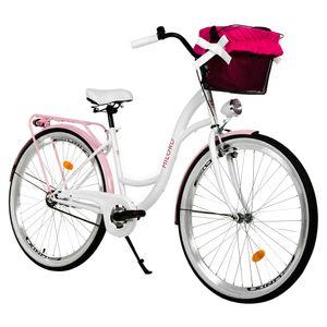 Milord Komfort Fahrrad Mit Korb Damenfahrrad, 28 Zoll, Weiss-Rosa, 1 Gang