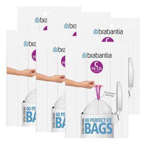 Brabantia Müllbeutel Spenderverpackung (C) 10-12 Liter, 40 Mülltüten (6er Pack)