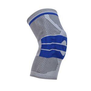Atmungsaktiv Knie Compression Support-Sleeve, Seite Quellen Unterstützung Stabilisatoren Knie Brace für Männer & Frauen Knie Protector Guards Farbe Grau M.