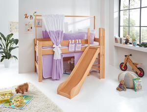 Relita Spielbett LEO Buche massiv geölt, mit Rutsche und über Eck gebauter Leiter BS1321118-B90+TX5062027+TX5032027