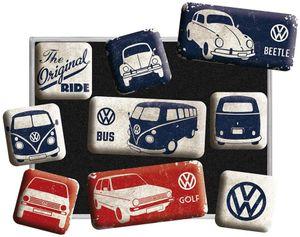 Nostalgic-Art - 9tlg. Kühlschrank-Magnetset - VW Bulli, Beetle & Golf