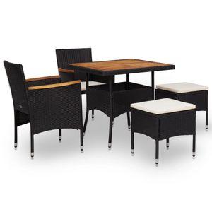 Huicheng Poly Rattan 5-tlg. Garten Essgruppe Sitzgruppe Esstischgruppe mit 2 Rattansessel + Holzplatte Tisch + 2 Hocker Schwarz Akazie Massivholz