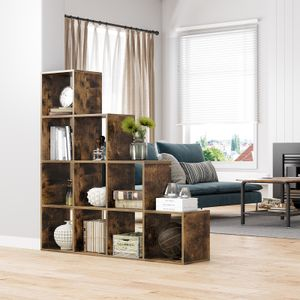 VASAGLE Bücherregal mit 10 Fächern | Raumteiler weiß 129,5 cm | Treppenregal aus Holz| Ausstellungsregal Vintage dunkelbraun LBC10BX