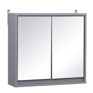 HOMCOM Spiegelschrank Badschrank Hängeschrank Badmöbel Wandschrank Mehrzweckschrank Holz Grau 48 x 14,5 x 45 cm