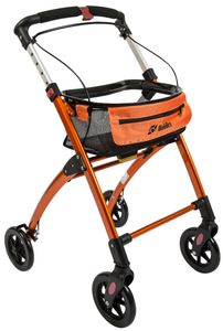 FabaCare Indoor Rollator Jaguar, schmal mit Tablett, Leichtgewicht Wohnungsrollator faltbar, Heimrollator, bis 100 kg, Orange