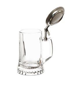 2er Set Bierseidel 0,5 Liter Bierkrug mit Zinndeckel