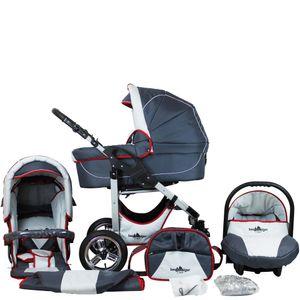Bergsteiger Capri Kinderwagen, Farbe: grey & red stripes / Gestell: silber, 3-in-1 Kombikinderwagen, inkl. Babyschale, Babywanne, Sportwagen und Zubehör