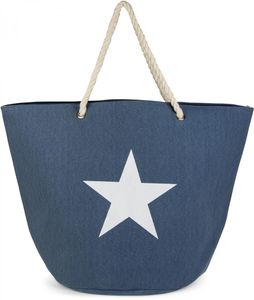 styleBREAKER große XXL Strandtasche mit Stern Print, Schultertasche, Shopper, Badetasche, Damen 02012079, Farbe:Weiß