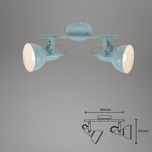 Deckenleuchte Spots dreh- &schwenkbar 40W 2xE14 mint Ø10,5cm Briloner Leuchten