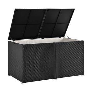 Polyrattan Auflagenbox Ikaria 950 L inkl. Deckel mit Hubautomatik & Innenplane – Garten Kissenbox für Balkon & Terrasse – Gartenbox schwarz | Juskys