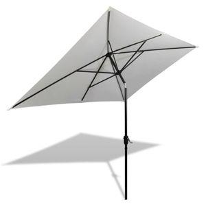 Huicheng Sonnenschirm Strandschirm Gartenschirm Rechteckig Weiß 200 x 300 cm / Stahl / Polyester