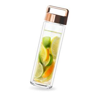 Tee-to-go-Flasche Teeflasche 450ml doppelwandig mit Edelstahl Sieb & Deckel Gold