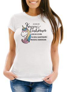 Damen T-Shirt Einhorn Spruch ich bin die Königin der Einhörner Slim Fit Moonworks® weiß M
