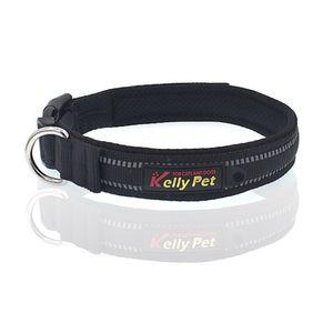 Hundehalsband reflektierend Nylon Mesh atmungsaktives Band Klickverschluss Größe L (Breite 2,5cm, Länge 47-54cm) Schwarz