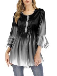 (Morydal)Damen Langarmshirt Longsleeve Basic Maxi Long Shirt Longshirt,Farbe:Grau, Größe:XL