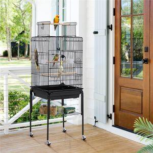 Yaheetech Vogelkäfig Vogelhaus Vogelbauer Wellensittichkäfig 46,5 x 46,5 x 136 cm Kanarien Käfig Exotenkäfig Papageienkäfig