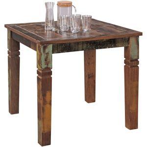 FineBuy Esszimmertisch 80 x 80 x 76 cm Mango Shabby Chic Massiv-Holz | Design Landhaus Esstisch Bootsholz | Tisch für Esszimmer rechteckig | Küchentisch 4  Personen