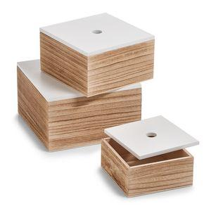 ZELLER, Aufbewahrungsbehälter mit Deckel, Organizer - 3 Stück im Set